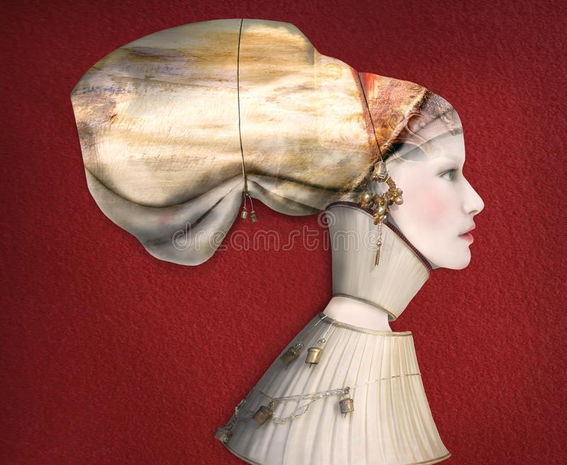 Artistic Female Portrait Profile in Costume. Beautiful artistic portrait of a female model profile in costume on red background stock photography