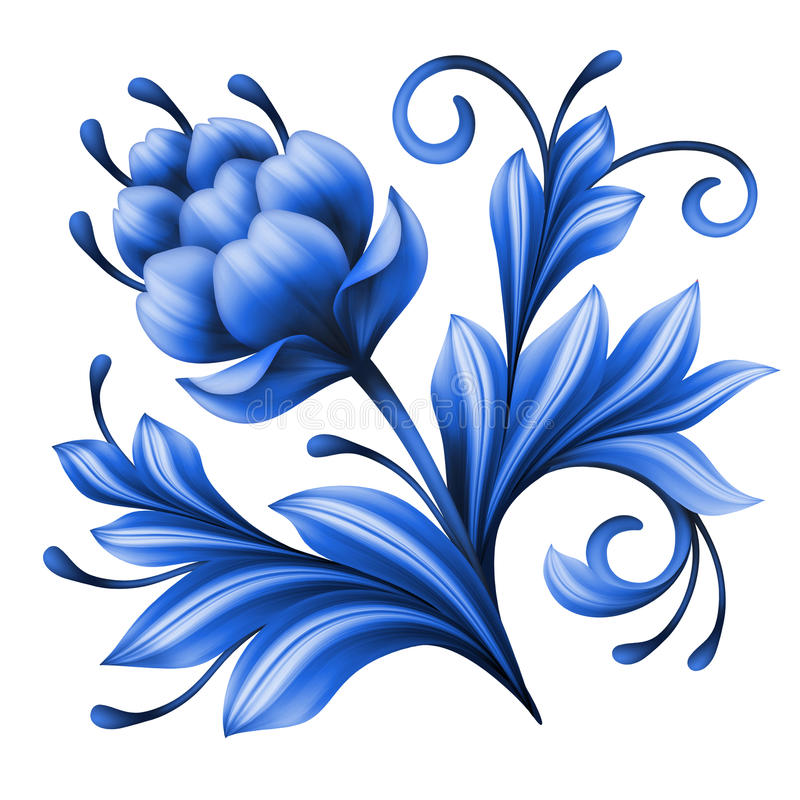 Artistic floral element, abstract gzhel folk art, blue flower illustration vector illustration