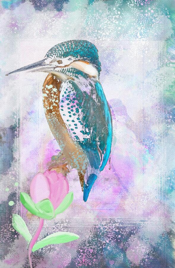 Free Artistic Floral Illustration With Delicately Painted Watercolor Birdy ,decorative Flower . Stock Photos - 173405703