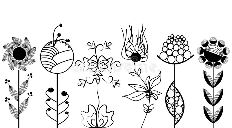 Artistic flowers set royalty free illustration