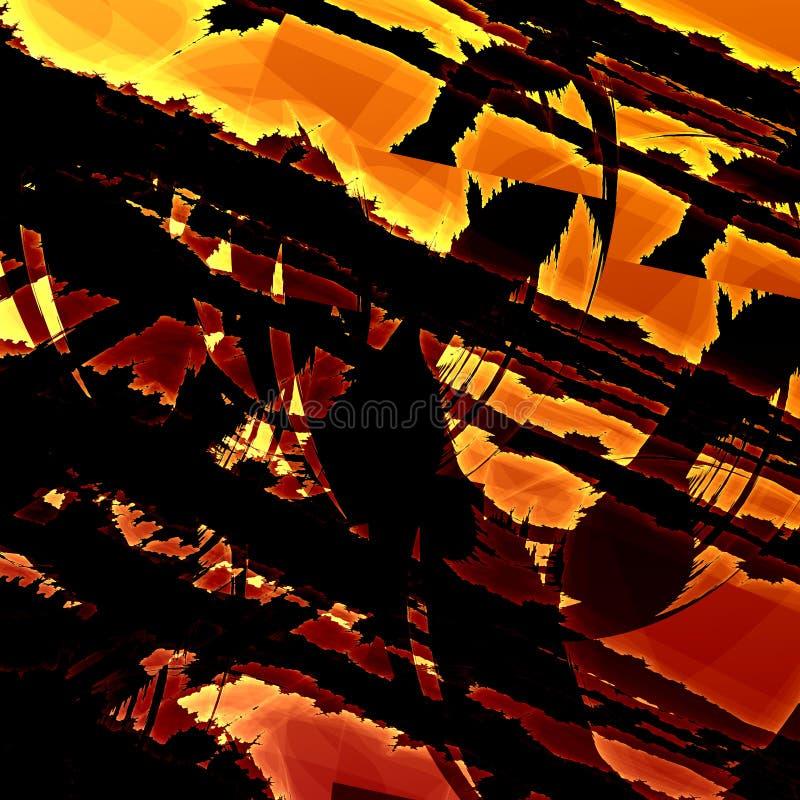 Artistic Fractal Grunge. Modern Art Background. Abstract Old Texture. Grungy Illustration Design. Dark Brown Rusty Orange Colors. stock illustration