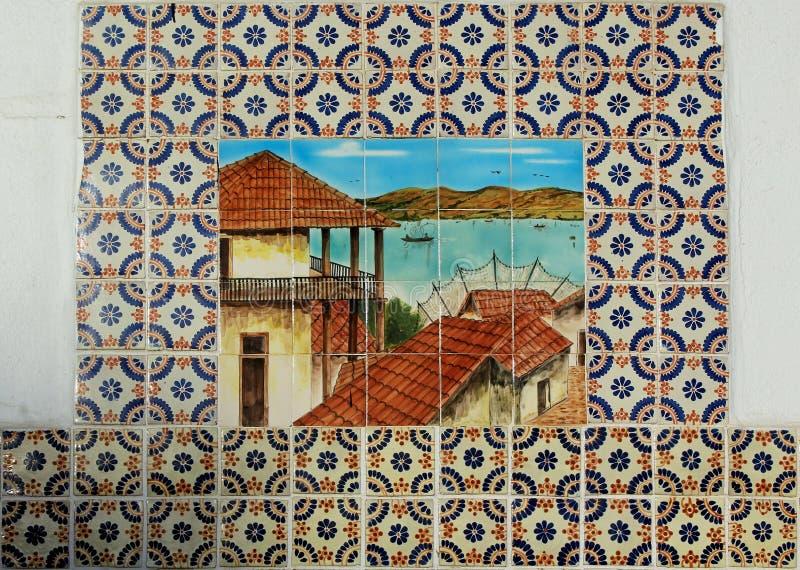 Wall paintings, Teatro Cultural Riviera De Ensenada, ensenada, Mexiaco. The artistic geometrical wall pattern decorations at Teatro Cultural Riviera De Ensenada royalty free stock image