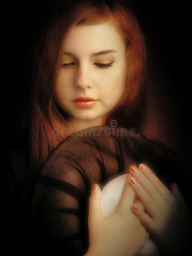 Artistic girl portrait. Retro styled artistic beautiful girl portrait. Art photo, noise added manually stock photography