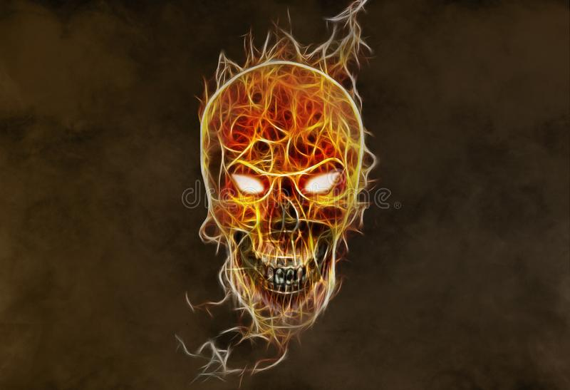 Artistic Glowing Abstract Colorful Evil Skull on a Smoky Background stock photography