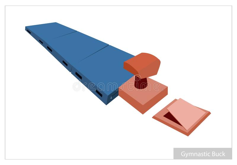 Artistic Gymnastic Buck Equipments on White Background royalty free illustration