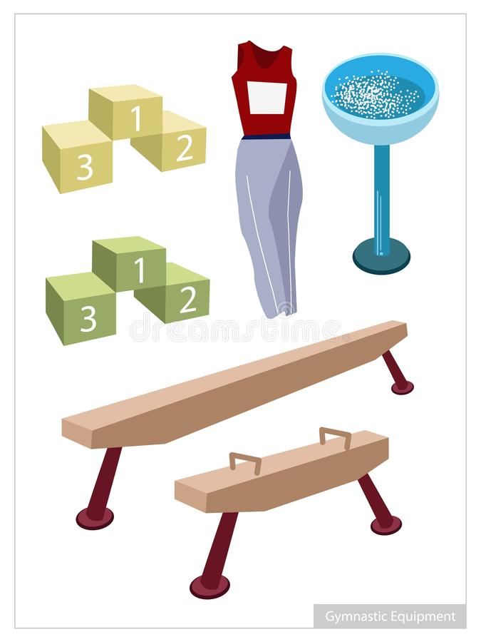 Artistic Gymnastic Equipments on A White Background vector illustration