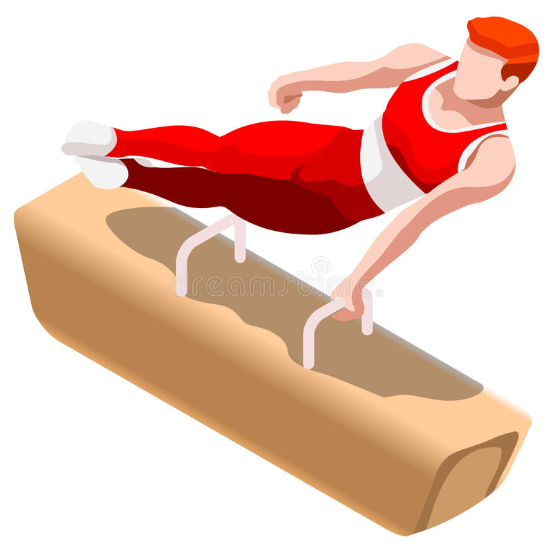 Free Artistic Gymnastics Pommel Horse Summer Games Icon Set.3D Isometric Gymnast.Olympics Sporting Championship International Royalty Free Stock Photography - 73533237