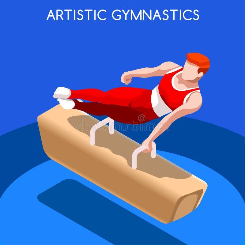 Artistic Gymnastics Pommel Horse Olympic Icon Set.3D Isometric Gymnast.Sporting Championship International Competition. stock illustration