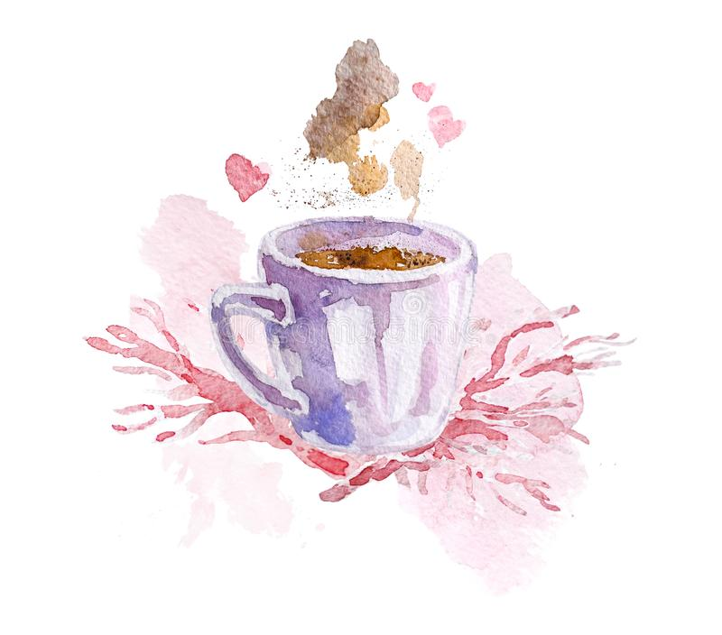 Artistic hand drawn watercolor composition with coffee & paint drops and backdrops. Good for Valentine day, wedding celebration and decoration - cards, posters stock illustration