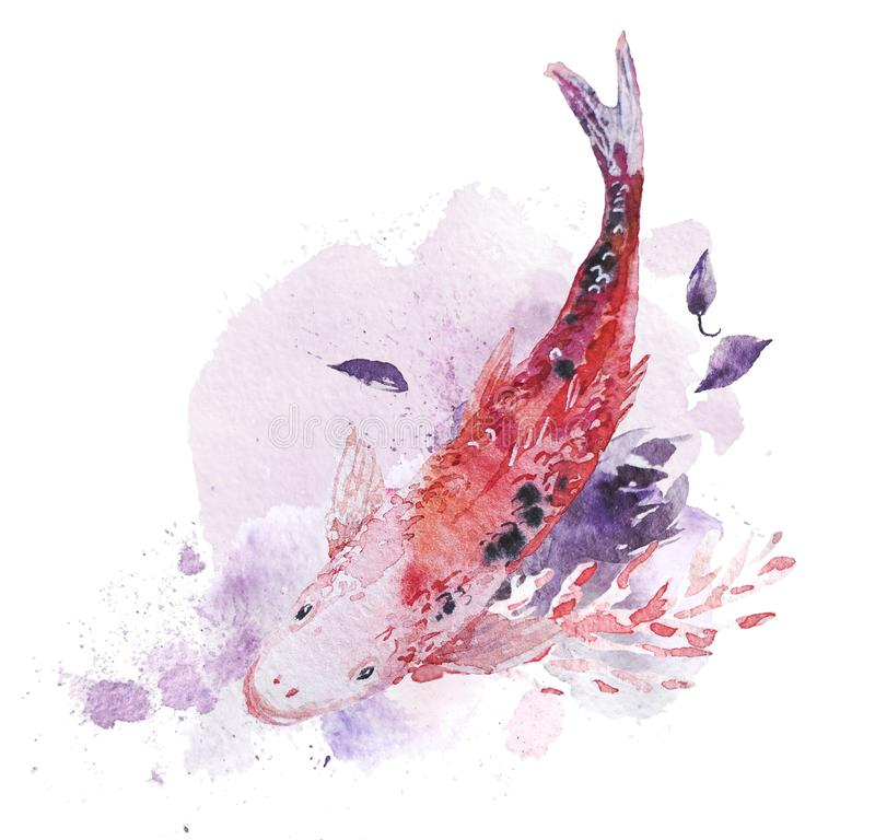 Artistic hand drawn watercolor composition with fish, pictorial paint drops and backdrops. Good for Valentine day, wedding celebration and decoration - cards royalty free illustration