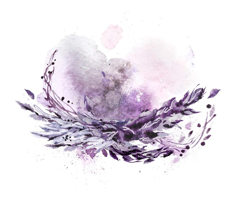 Artistic hand drawn watercolor composition with pictorial paint drops and backdrops. Good for Valentine day, wedding celebration and decoration - cards royalty free illustration