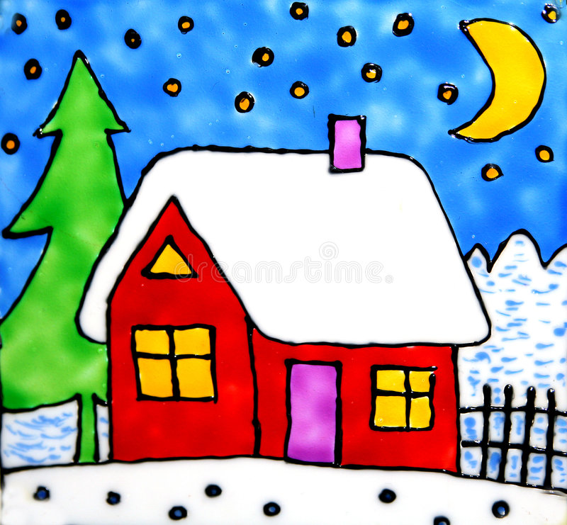 Artistic house in winter stock illustration