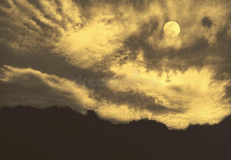 An artistic image of a beautiful moonlight night. A beautiful full moon among the clouds in a sky over a row of big dark trees royalty free illustration