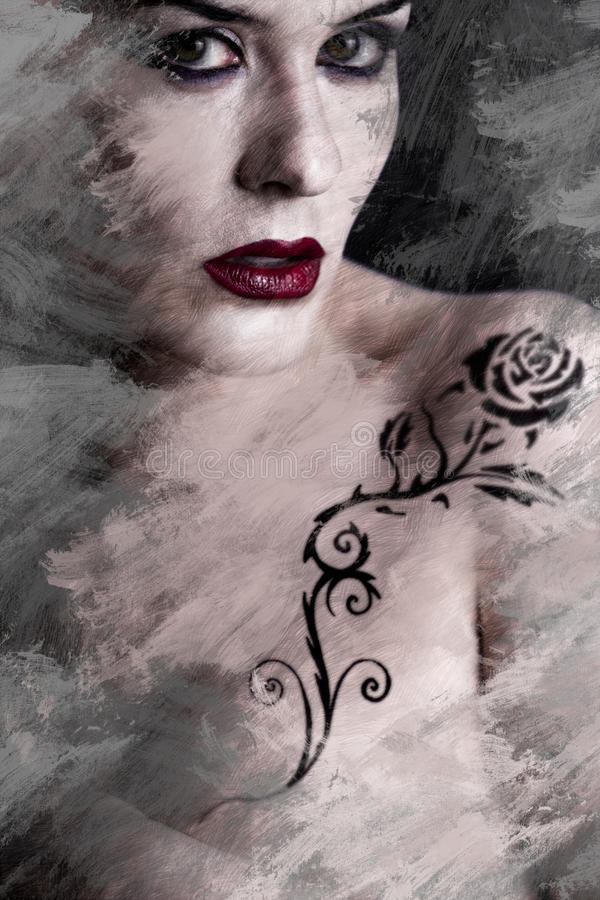 Artistic image of tattooed woman with a flower tattoo black tribal royalty free illustration