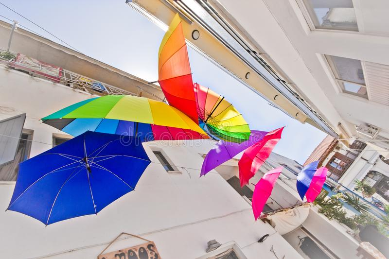 Artistic colored umbrellas royalty free stock images