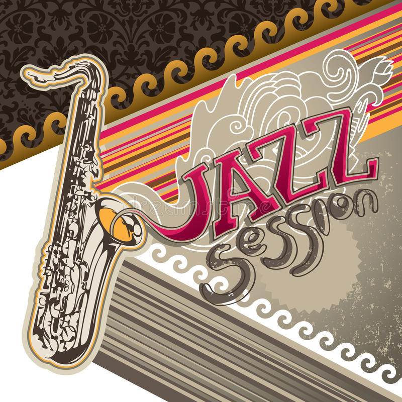 Artistic jazz banner. With designed graphic elements royalty free illustration