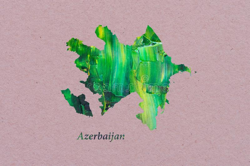 Artistic Map of Azerbaijan stock illustration