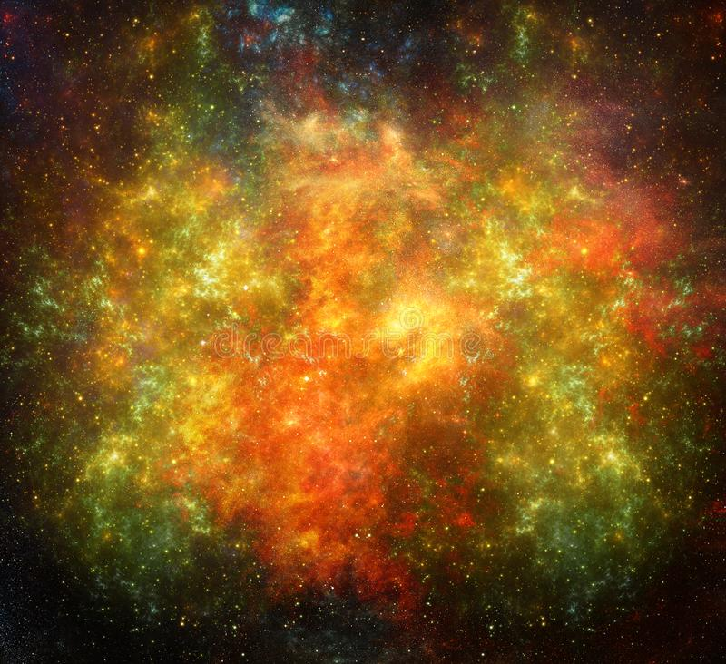 Artistic multicolored deep space nebula with star field stock image