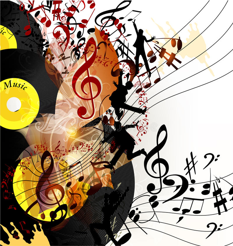 Musical Vinyl Wallpaper: Artistic Music Background With Vinyl Record And Notes In