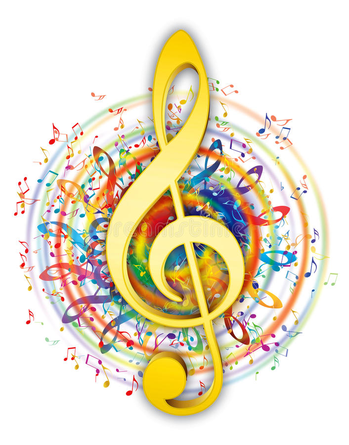 Artistic music key illustration. Colorful music elements in color circle with soft yellow/gold music key in center stock illustration