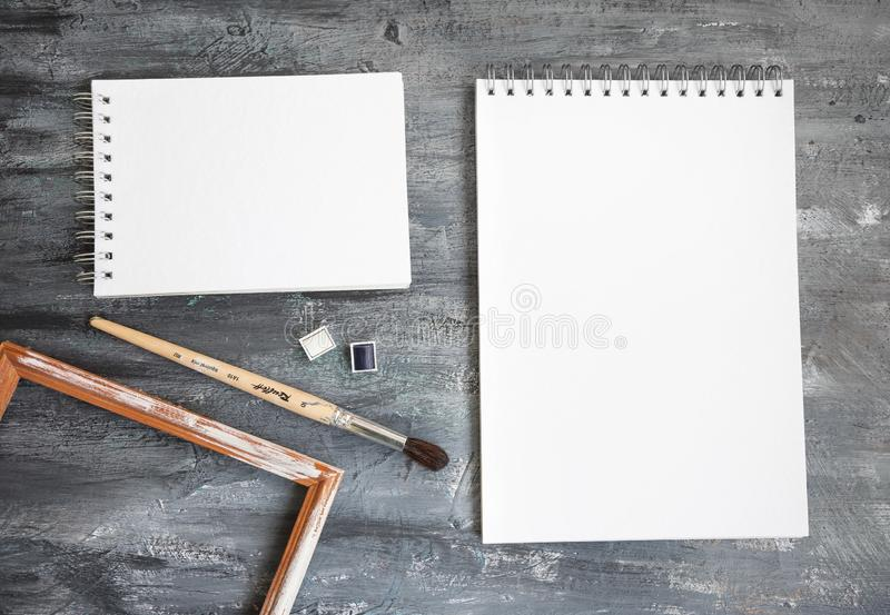 Artist Album Mock Up Template with brush and paints stock image