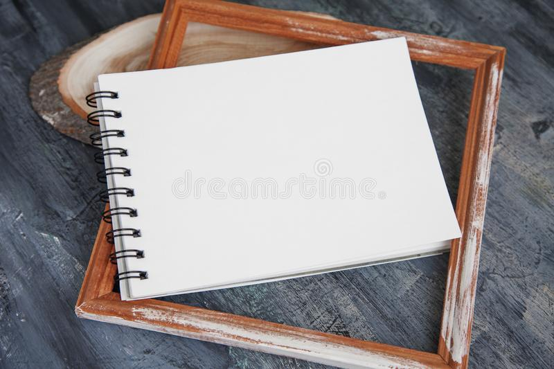 Artist Album Mock Up Template with brush and paints stock photos