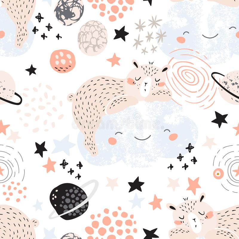 Artistic nursery seamless pattern. Night dream Illustration royalty free illustration