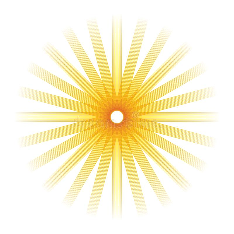 Artistic orange sun illustration with vibrant color royalty free illustration