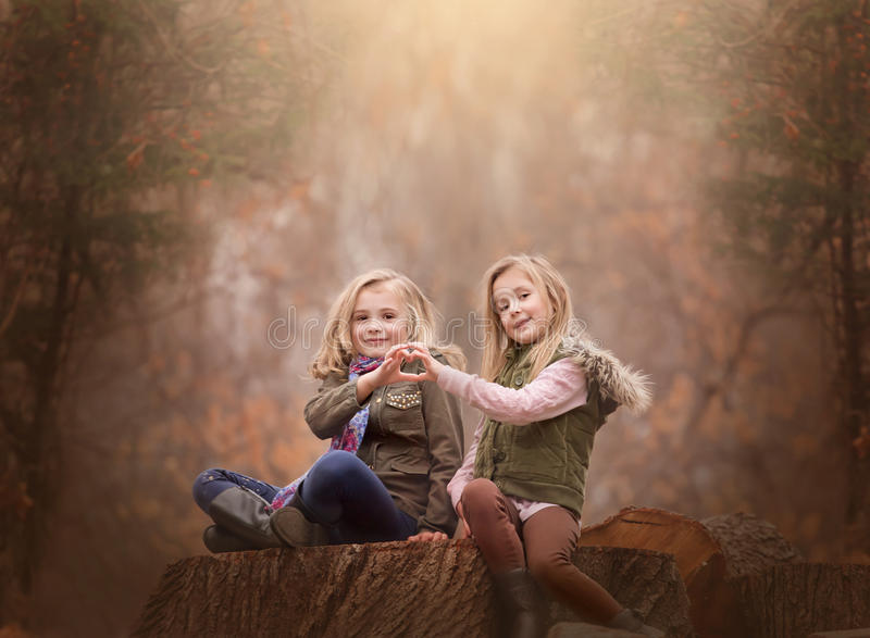 Artistic outdoor portrait of two blond girls sitting on a log of tree in a woods. Artistic moody outdoor portrait of two blond girls sitting on a log of tree in royalty free stock photos