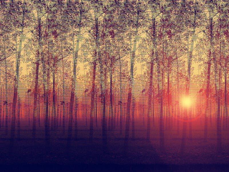 Artistic painted depiction of landscaped poplar tr stock illustration