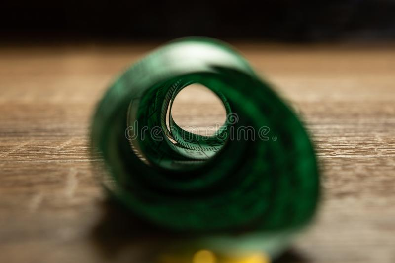 Artistic photography of measuring tape stock photography