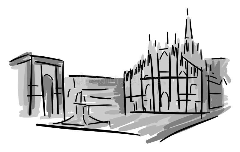 Artistic Piazza del Duomo a Milano illustrazione di stock