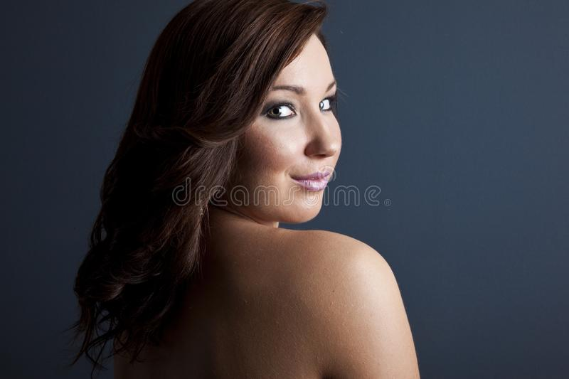 Fashion Beauty Portrait of Happy, Smiling, Beautiful Girl. Professional Makeup. royalty free stock image