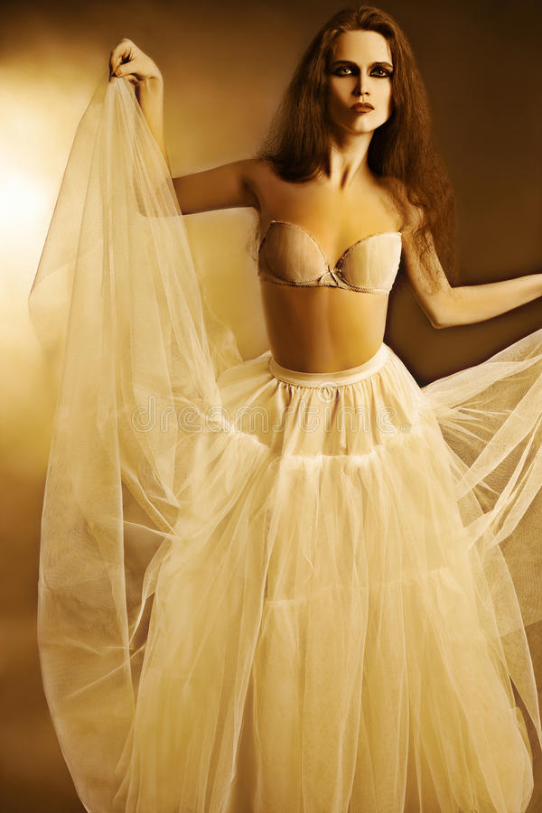 Artistic portrait of elegant woman in white skirt. Artistic portrait of elegant woman in white wide long flared skirt and bra royalty free stock photo