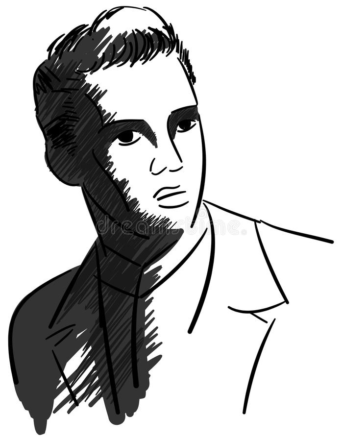 Artistic portrait of Elvis Presley. Image representing the famous american musician, singer and actor Elvis Presley. An illustration in black that can be used in vector illustration