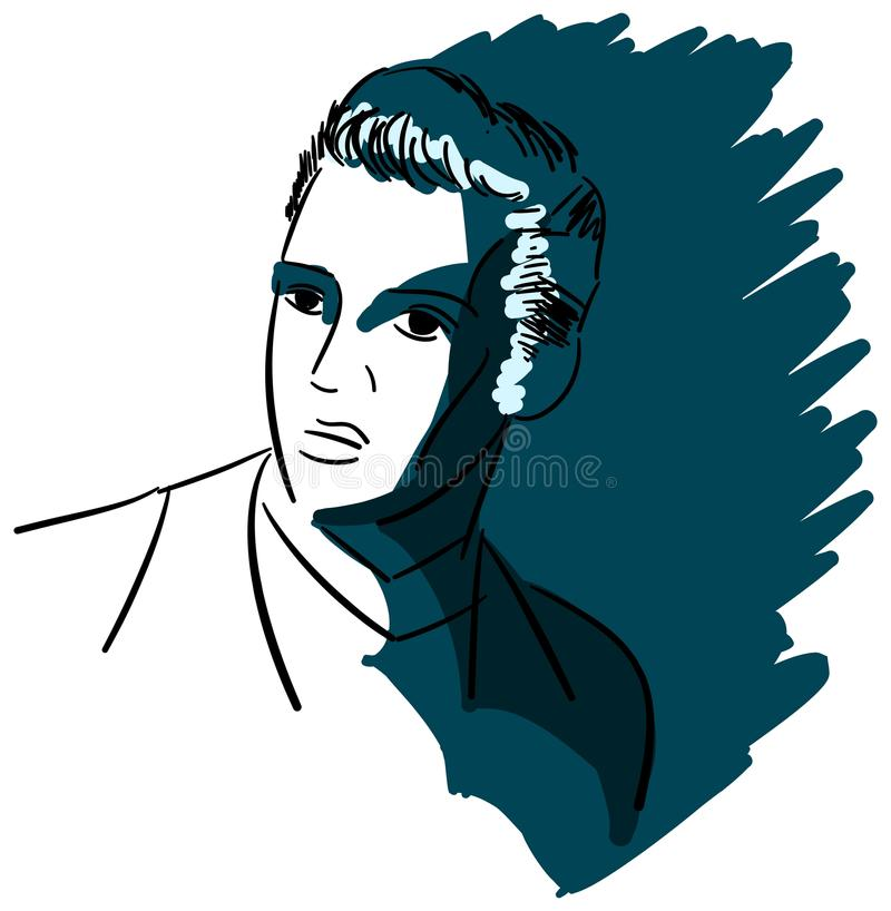 Artistic portrait of Elvis Presley isolated. Image representing the famous american musician, singer and actor Elvis Presley. An illustration in black that can vector illustration