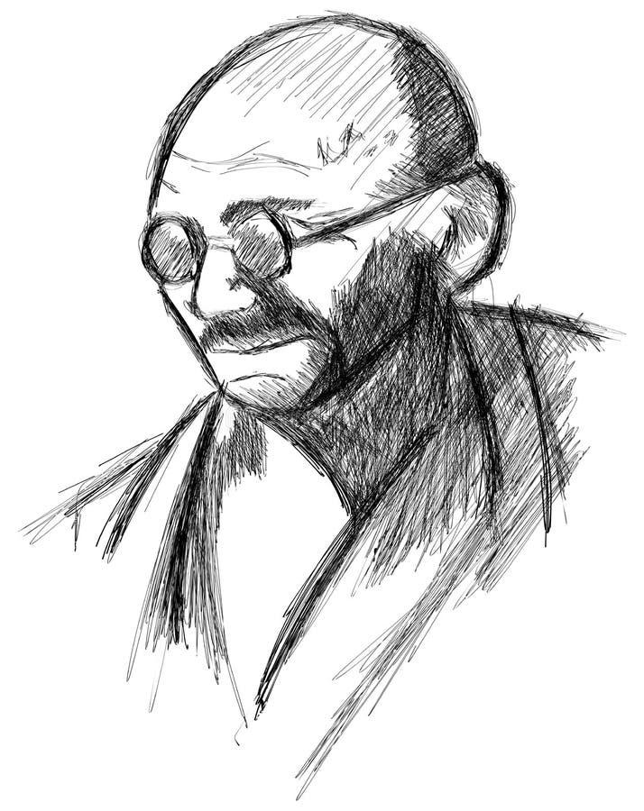 Artistic portrait of Mahatma Gandhi isolated royalty free illustration