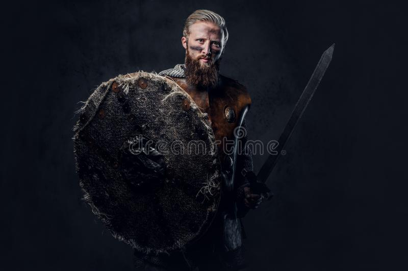 Viking dressed in Nordic armor holds a shield and silver sword. stock images
