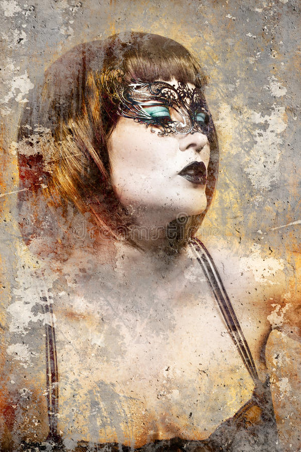 Artistic portrait with textured background, beautiful brunette w. Ith venetian mask, dark royalty free stock photos