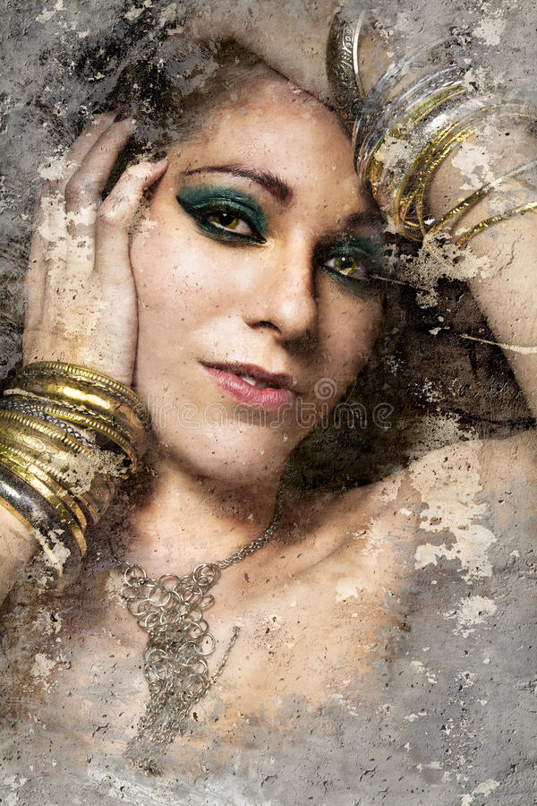 Artistic portrait with textured background, beautiful woman with stock image