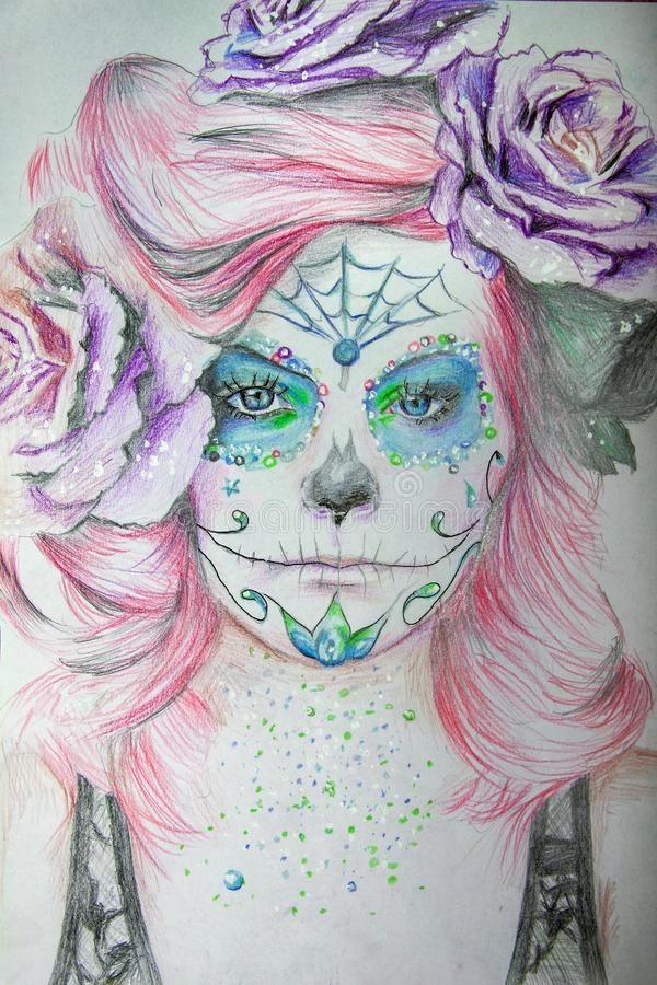 Hand drawn portrait of a beautiful girl with carnival mask royalty free stock images