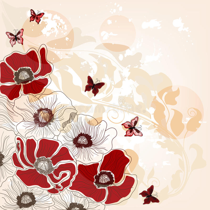 Free Artistic Postcard With Poppies And Butterflies Royalty Free Stock Photo - 23086575