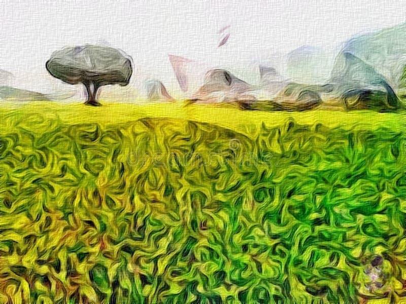 Artistic Scenery of Field of MustardSarson royalty free stock image