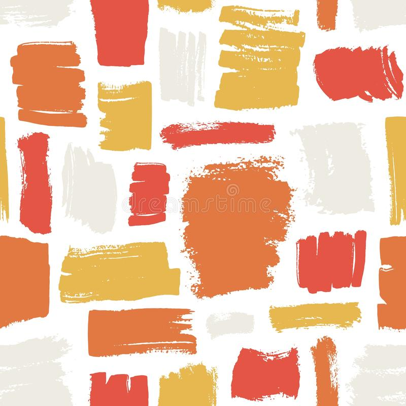 Artistic seamless pattern with red, orange, yellow brush strokes on white background. Creative backdrop with rough paint. Traces or marks. Decorative vector stock illustration