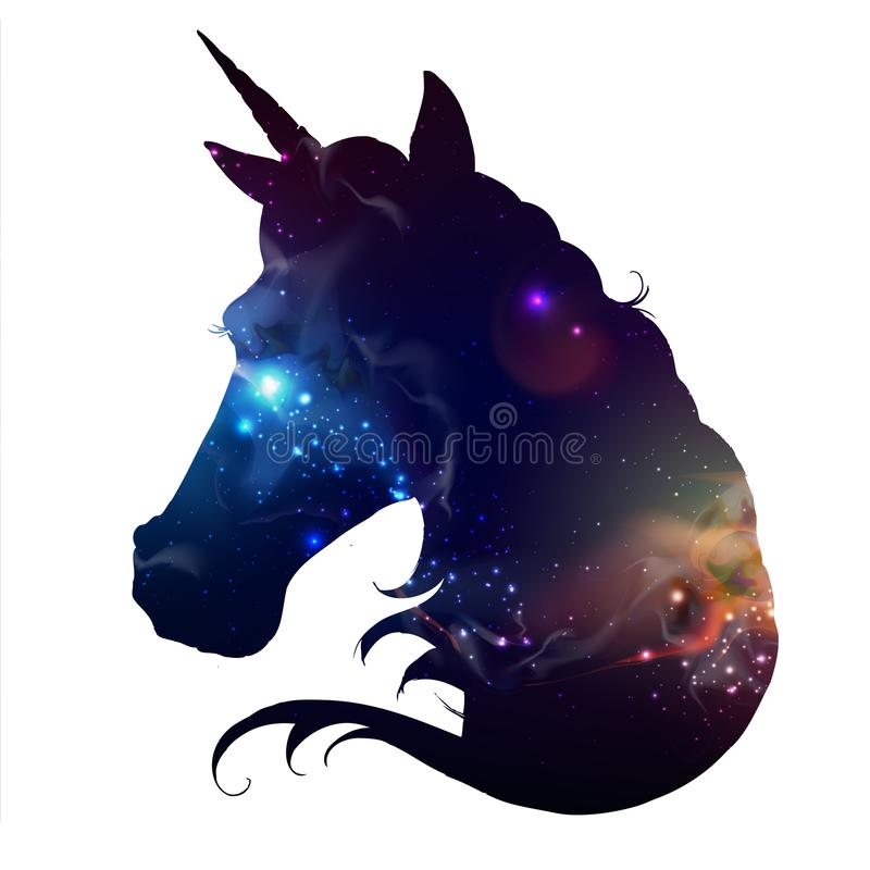 Artistic silhouette of fantasy animal unicorn on open space background. royalty free illustration