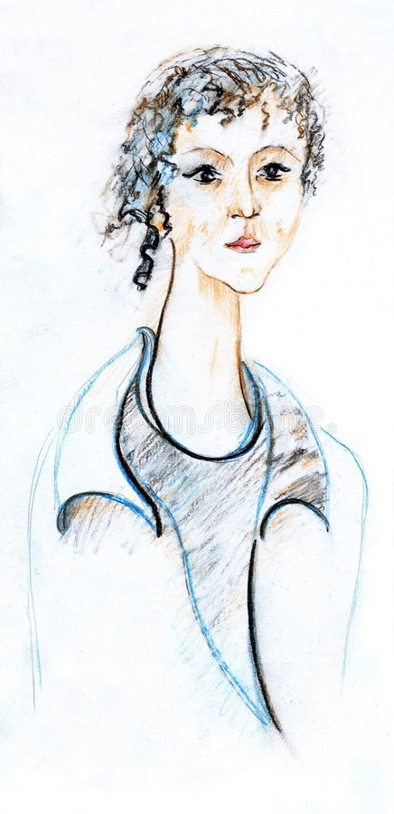 Artistic sketch of young woman stock photography