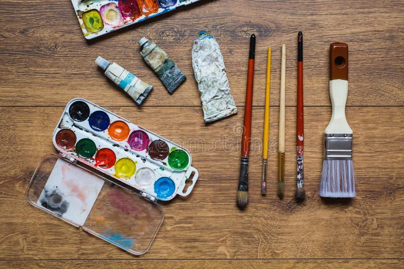 Tools for art and drawing. Artist`s work royalty free stock image