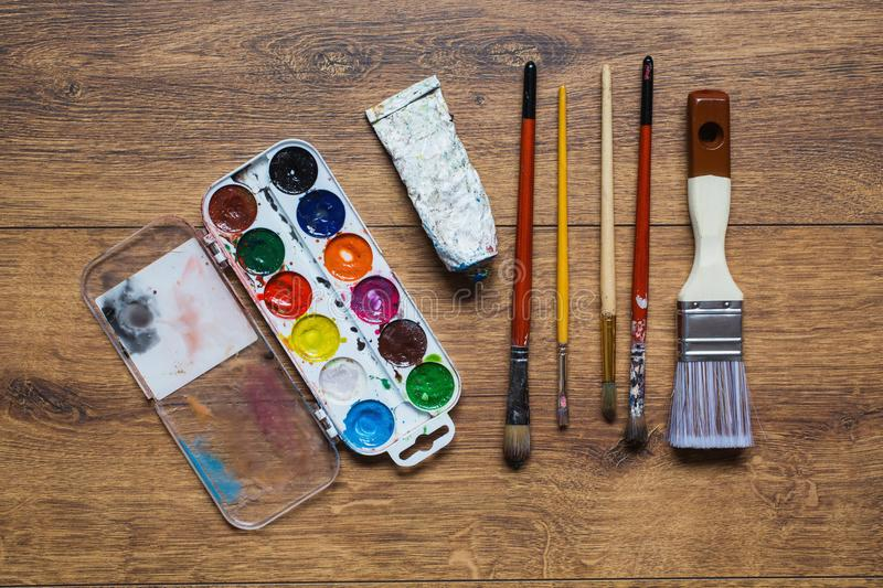 Tools for art and drawing. Artist`s work stock photo