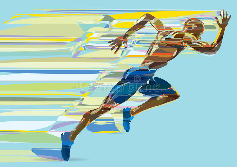Artistic stylized running man in motion. royalty free illustration