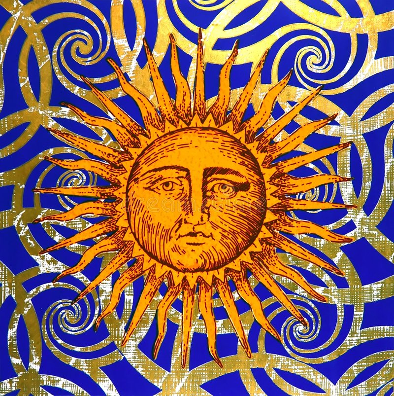 Artistic symbol of the sun royalty free stock photos